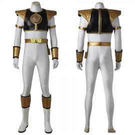 Power Rangers White Tyranno Ranger Tommy Cosplay Costume