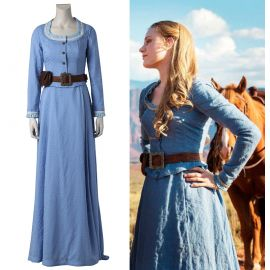 Westworld Dolores Abernathy Cosplay Costume Blue Dress